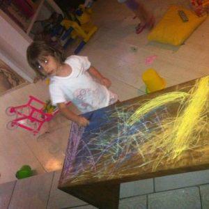 Melissa destruindo a casa durante as férias.